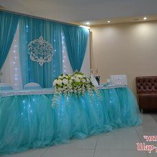 Baby blue and white Sweet 16 Decorations, Backdrop Decorations, Wedding Table Decorations, Wedding Centerpieces, Head Table Backdrop, Quinceanera Decorations, Pipe And Drape, Cream Wedding, Backdrops For Parties
