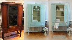 Annie Sloan Before and After: Hutch Painted using Louis Blue, English Yellow and Old White