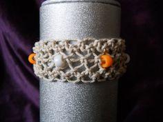 Natural Hemp Cuff Bracelet w/ Orange & by PeaceLoveNKnottyHemp, $10.00