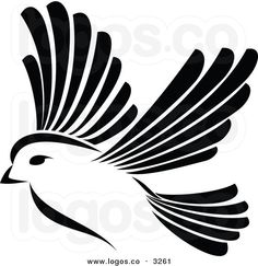 black and white clipart | Royalty Free Vector of a Black and White Flying Bird Logo