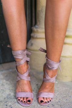 06f5006d9267 The Mia Faux Suede Lace Up Heel in Mocha • Impressions Online Boutique Wrap  Heels