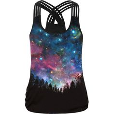 Galaxy Printed Round Neck Racerback Sleeveless T-Shirt (€19) ❤ liked on Polyvore featuring tops, t-shirts, galaxy tees, racerback tee, galaxy print t shirt, summer t shirts and round neck tee