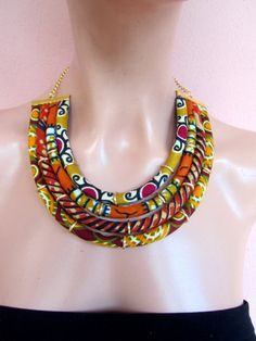 African wax print Bib Necklace,Tribal Necklace.Ethnic fabric necklace. Gift for her,  orange,  mustard yellow ,brown