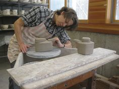 Linda Christianson in her studio located in Lindstrom, Minnesota. Christianson was one of Ceramics Monthly's 2012 Working Potters. http://ceramicartsdaily.org/ceramics-monthly/ceramics-monthly-junejulyaugust2012/
