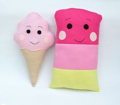 Ice Cream + Ice Pop Softie Pillow Tutorial