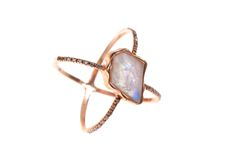 Rainbow Moonstone Pentagon Cross Diamond Ring
