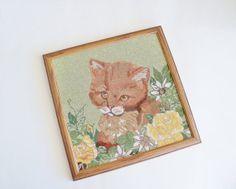 Cat Needlepoint Custom Framed Wall Decor by SunshineSurprises