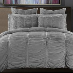 NMK Textiles, INC Ruffled Handcrafted 3 Piece Reversible Duvet Cover Set Size: