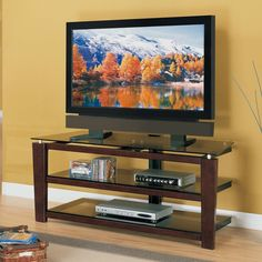 TV Stand 3 in 1 Mounting Options 3 Open Glass Storage Shelves Fixed Brown Cherry #WFMfg #ModernContemporary