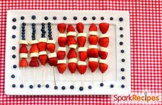 American Flag Fruit Kabobs: A cute and simple party dish for Memorial Day! | via @SparkPeople #healthy #fruit #berries #kids #cookout