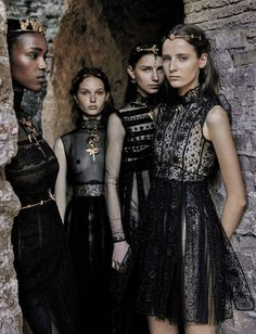 ALENTINO (Haute Couture Fall/ Winter 2015-16) - model: Leila Nda, Sofia Tesmenitskaya, Grace Simmons & Yana Van Ginneken - photographer: Fabrizio Ferri - Vogue Italia September 2015