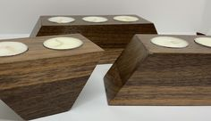 Candle Holder Set from Reclaimed Walnut with 5 Tea Lights Tea Candle Holders, Modern Candle Holders, Candle Tray, Candle Stand, Tea Light Candles, Tea Lights, Woodworking Candle Holder, Wooden Tea Light Holder, Concrete Coffee Table