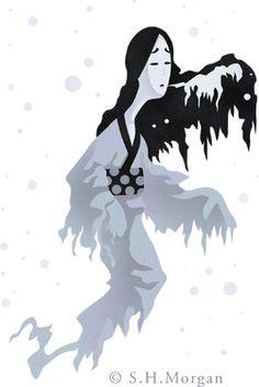 Yuki-onna ~ 雪女 (ゆきおんな) ~ part of The Obakemono Project: An Online Encylopedia of Yōkai and Bakemono Yuki Onna, Traditional Stories, Asian Design, Mythological Creatures, Faeries, Demons, Ghosts, Freeze, Mythology