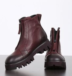 rundholz black label - short boots with zipper leather lava - Winter 2017