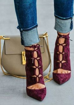 Burgundy Lace Up Heels                                                                             Source