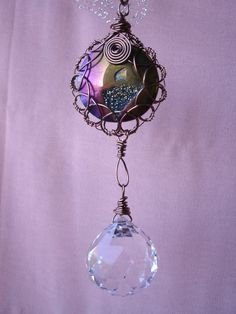 Crystal sun catcher with Titanium Agate Gemstone, window hanging, garden art, Feng Shui Cures, free shipping