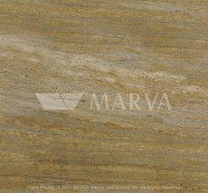 KASHMIR GOLD  Origin : India  Color Group : Gold  Stone Type : Granite  Manufacturer : Marva Marble Silver Falls, Silver Creek, Types Of Granite, Igneous Rock, Granite Colors, India Colors, Golden Leaves, Golden Oak