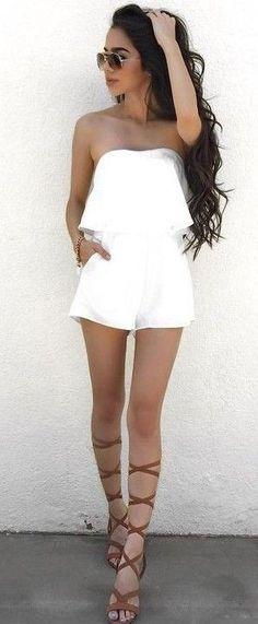 #summer #elegant #feminine | White Romper