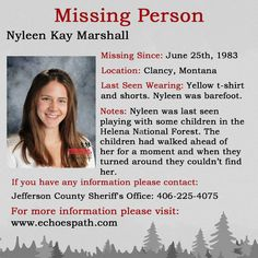 The disappearance of Nyleen Kay Marshall. Letter Writer, Missing And Exploited Children, Investigation Discovery, 6 Year Old Boy, Let Her Go, Person Of Interest, Yellow T Shirt, Missing Persons, Cold Case