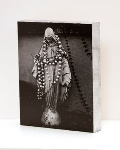 Black Madonna Wall Panel - 8x10 Photo Standout, Ready to Hang Wall Art, Black and White New Orleans Photograph, Religious, Catholic, Mary