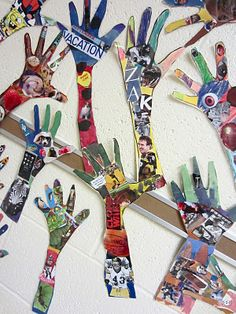 "Hands on ART. Students trace their hands and fill in the space with a collage about themselves. They may need to trim the edges. See the site to see the way it was hung in a circle around a disk that says ""Art"" I am making ART collage letters and this would be perfect surrounding them. I could add hands to them every year...or not"