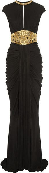 Alexander Mcqueen Embellished StretchJersey Gown in Black | Lyst- for Myrella