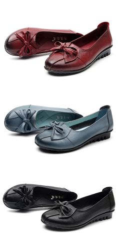 035534995ce8  25.93 Socofy Leather Bowkont Soft Casual Slip On Flat Loafers Flat  Loafers Women Loafers Women Shoes Flat Shoes Discount Womens