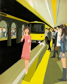Print of this image is now available at magma-shop.com #illustration #painting #tatsurokiuchi #art #drawing #life #lifestyle #happy #japan #people #木内達朗 #イラスト #イラストレーション #tube #subway #tokyo