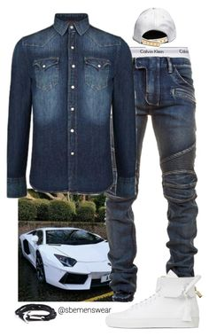 """""""Denim Squared"""" by efiaeemnxo ❤ liked on Polyvore featuring Calvin Klein Underwear, Balmain, Replay, BUSCEMI, men's fashion and menswear"""