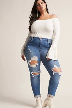 60159d6a6405f FOREVER 21+ Plus Size Distressed Jeans Female Fashion and Style for Woman  plus size