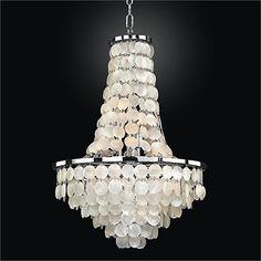 "Bayside 19"" Wide Silver Pearl Capiz Shell Chandelier - #7G149 | LampsPlus.com"