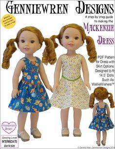"Mackenzie Dress 14.5"" Doll Clothes Pattern"