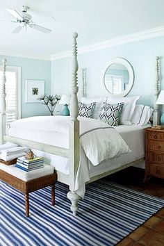 Cottage Master Bedroom with West Elm Parsons Round Mirror - Bone Inlay, Crown molding, Ceiling fan, terracotta tile floors