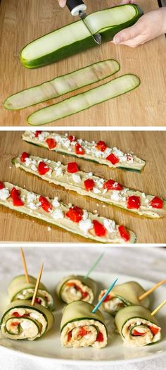 Gurkenrollen mit Käse, Paprika und Thunfisch Dip