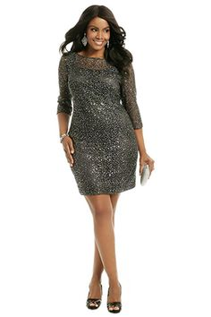 Kay Unger Sequin Bridesmaids Dress with Three Quarter Sleeves | See More! http://heyweddinglady.com/the-ultimate-guide-to-sparkling-metallic-dresses-for-your-wedding/