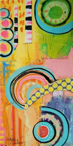 "Ardith's Art Journal: Intuitive Painting Within A Framework  6"" by 12"" mixed media on canvas by Ardith Goodwin"