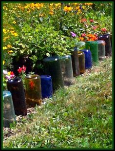 Edging for Flower Beds with Upside-down Bottles