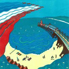 Red Arrows, Bournemouth - Signed Original Linocut Print Edition 30. Francesca Whetnall