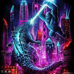All Godzilla Monsters, Godzilla Comics, King Kong Vs Godzilla, Godzilla Wallpaper, Hd Wallpaper, Neon Jungle, Caricature Artist, Movie Poster Art, Monster Art