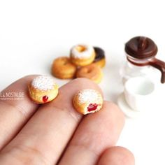 """""""Warm this Christmas winter with hot tantalizing donuts stud earring oozing with red strawberry jam   Realistic miniature food art   Check out this easy…"""""""