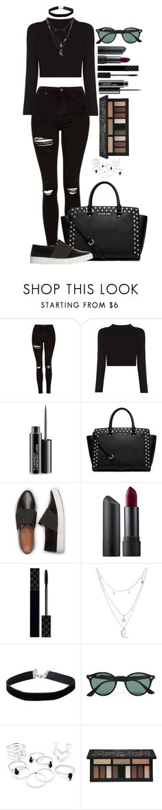 """""""Untitled #1496"""" by fabianarveloc on Polyvore featuring Topshop, MAC Cosmetics, MICHAEL Michael Kors, Bite, Gucci, Charlotte Russe, Miss Selfridge, Ray-Ban and Kat Von D"""