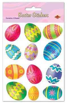Bright Easter Egg Stickers come with 12 different colored Easter eggs on each sheet. The Easter Egg Stickers come with 4 sheets of stickers. Each package contains 48 stickers that can be cut apart if needed.