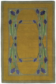 Theodore Ellison Designed For Tiger Rug Bloomfied Honey Wool Silk Art And Craft