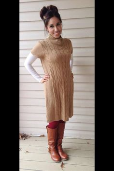 Red tights, brown boots, camel sweater dress, white long sleeves. Modest winter fashion