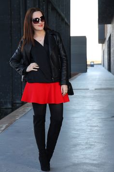 """NEW LOOK WITH RED SKIRT -  As first seen on blog """"Black Dress Inspiration"""" here: NEW LOOK WITH RED SKIRT  She is wearing tights similar here: Black Opaque Tights Just in time for cooler temps these opaque tights will keep your legs covered in a no-show shade while the unique knitting technology helps create a smoother-looking silhouette. Now you can experience the next step in hosiery.  #tights #pantyhose #hosiery #nylons #tightslover #pantyhoselover #nylonlover #legs"""