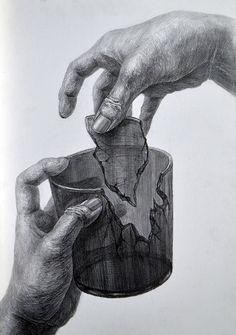 Hände zeichnen  zerbrochenes Glas Broken Glass  Hands Drawing