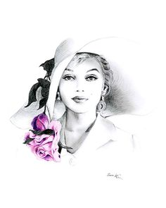 sookimstudio on Etsy: Pencil Drawing - Black and White - Marilyn Monroe with Hat and Rose print many more like it based off of famous celebrities and movies