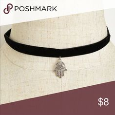 "Hamsa Hand Choker Black fabric choker with a Hamsa hand choker.   Lobster claw closure with 3"" extender.   🚫No trades ✅Bundle and save on shipping Moreforless2U Jewelry Necklaces"