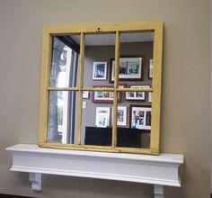 Summer Sale Yellow Window Mirror 1415 by TheDecorativeCompany #Windowpanemirror #mirror #interiordecor www.etsy.com/shop/thedecorativecompany