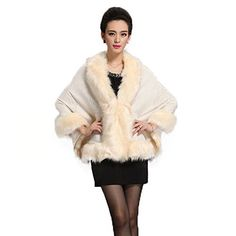 New Trending Outerwear: Caracilia Women Bridal Faux Fur Shawl Wraps Cloak Coat Sweater Beige. Caracilia Women Bridal Faux Fur Shawl Wraps Cloak Coat Sweater Beige  Special Offer: $27.99  222 Reviews Original Caracilia Apparel with Registered US BRAND.Item includes: 1 x Faux Fur Cape Other accessories not included Free SizeSeller Comment:It's not thick fabric,Also not too...